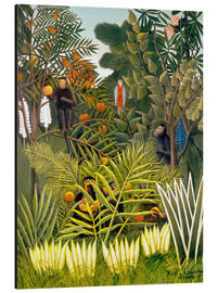 Aluminio-Dibond  Exotic Landscape with monkeys and a parrot - Henri Rousseau