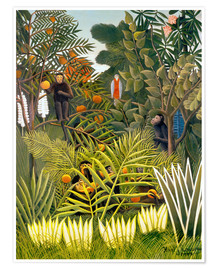 Póster  Exotic Landscape with monkeys and a parrot - Henri Rousseau