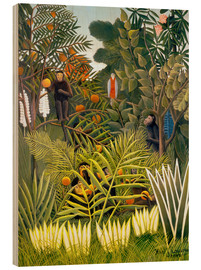 Madera  Exotic Landscape with monkeys and a parrot - Henri Rousseau