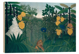 Cuadro de madera  The meal of the lion - Henri Rousseau