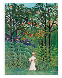 Póster  Woman in an exotic forest - Henri Rousseau