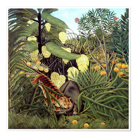 Póster  Combat of Tiger and Buffalo - Henri Rousseau