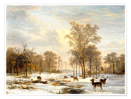 Póster Winter landscape with stags