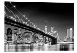 Cuadro de metacrilato  Brooklyn Bridge with Manhattan Skyline (monochrome) - Sascha Kilmer