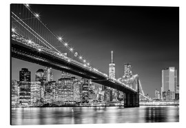 Cuadro de aluminio  Brooklyn Bridge with Manhattan Skyline (monochrome) - Sascha Kilmer