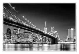 Póster  Brooklyn Bridge with Manhattan Skyline (monochrome) - Sascha Kilmer