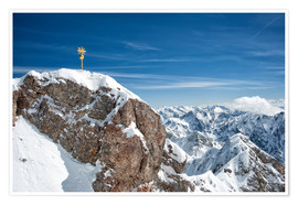 Póster  Top of Zugspitze mountain top with snow in winter - Sheila Haddad