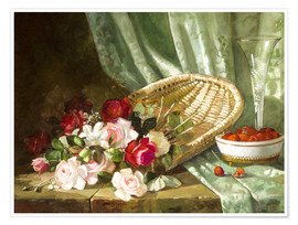 Póster Still life with roses and rasperries