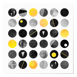 Póster  Black and yellow dots - Elisabeth Fredriksson