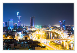 Póster  Ho Chi Minh city ( Saigon ) skyline at night, Vietnam - Matteo Colombo