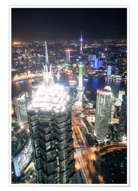 Matteo Colombo - Shanghai city from the top, illuminated at night, China