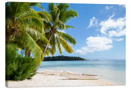 Lienzo  Beach with palm trees and turquoise ocean in Tahiti - Jan Christopher Becke