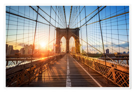 Póster  Puente de Brooklyn en Nueva York al amanecer - Jan Christopher Becke