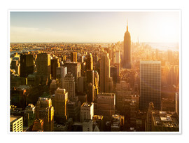 Póster  Manhattan skyline in NY at sunset - Jan Christopher Becke