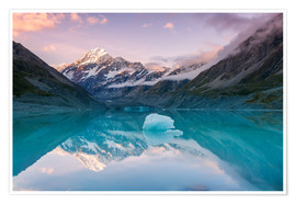 Póster  Glacial lake at Mt Cook, New Zealand - Matteo Colombo