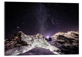 Cuadro de metacrilato  Eiger, Monch and Jungfrau mountain peaks at night - Peter Wey