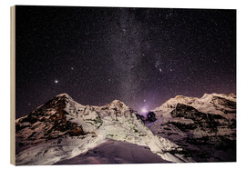 Cuadro de madera  Eiger, Monch and Jungfrau mountain peaks at night - Peter Wey