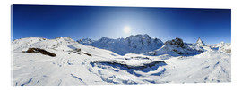 Cuadro de metacrilato  360 degree mountain panorama from Riffelberg above Zermatt with Monte Rosa and Matterhorn in Winter - Peter Wey