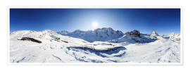 Póster  360 degree mountain panorama from Riffelberg above Zermatt with Monte Rosa and Matterhorn in Winter - Peter Wey