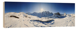 Cuadro de madera  360 degree mountain panorama from Riffelberg above Zermatt with Monte Rosa and Matterhorn in Winter - Peter Wey