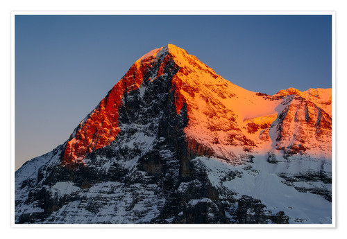 Póster Eiger mountain peak at sunset  View from Lauberhorn, kleine Scheidegg, Grindelwald, Switzerland