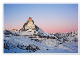 Póster Matterhorn at sunrise, view from Gornergrat, Zermatt, Valais, Switzerland