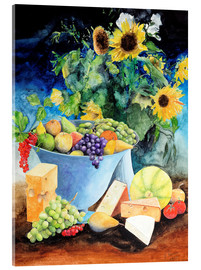 Cuadro de metacrilato  Still life with sunflowers, fruits and cheese - Gerhard Kraus