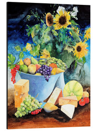 Cuadro de aluminio  Still life with sunflowers, fruits and cheese - Gerhard Kraus