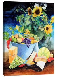 Lienzo  Still life with sunflowers, fruits and cheese - Gerhard Kraus