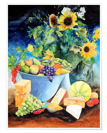 Póster Still life with sunflowers, fruits and cheese