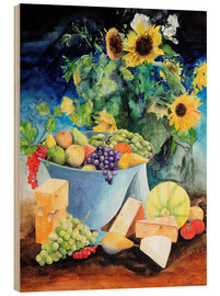 Madera  Still life with sunflowers, fruits and cheese - Gerhard Kraus