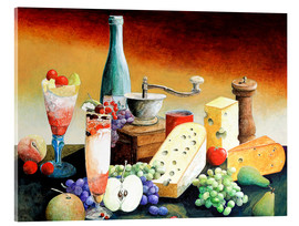 Cuadro de metacrilato  Stil life with coffee grinder, fruits and cheese - Gerhard Kraus