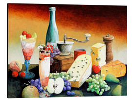 Cuadro de aluminio  Stil life with coffee grinder, fruits and cheese - Gerhard Kraus