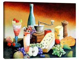 Lienzo  Stil life with coffee grinder, fruits and cheese - Gerhard Kraus