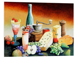 Cuadro de PVC  Stil life with coffee grinder, fruits and cheese - Gerhard Kraus