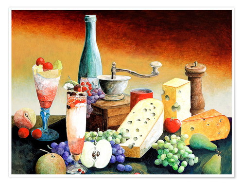 Póster Stil life with coffee grinder, fruits and cheese