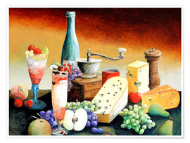 Póster  Stil life with coffee grinder, fruits and cheese - Gerhard Kraus