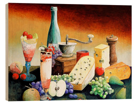 Cuadro de madera  Stil life with coffee grinder, fruits and cheese - Gerhard Kraus