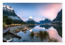 Póster Sunrise at Milford Sound, NZ