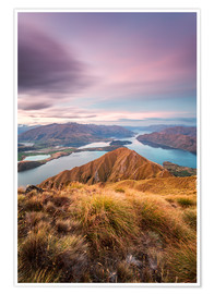 Póster  Awesome sunset over Wanaka lake from Mt Roy, Otago, New Zealand - Matteo Colombo