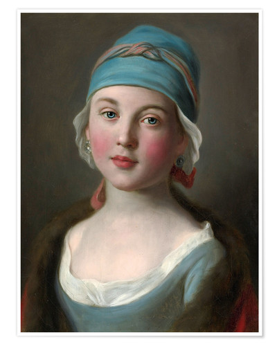 Póster Russian girl in a blue dress and headdress