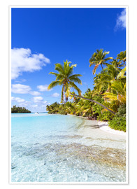 Póster Beautiful tropical beach with palms, One Foot Island, Cook Islands, Pacific