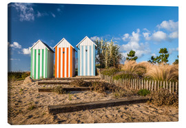 Lienzo  Colorful beach huts in Brittany (France) - Christian Müringer