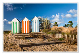 Póster  Colorful beach huts in Brittany (France) - Christian Müringer