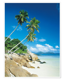 Póster Anse Severe With Praslin Island in Background, La Digue, Seychelles