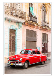 Póster  Restored American car, Havana - Lee Frost