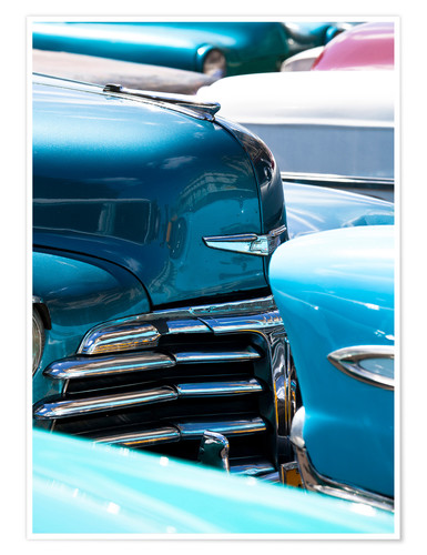 Póster Vintage American cars parked on a street in Havana Centro, Havana, Cuba, West Indies, Central Americ