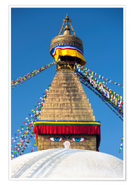 Póster  Bodhnath Stupa (Boudhanth) (Boudha), one of the holiest Buddhist sites in Kathmandu, UNESCO World He - Lee Frost