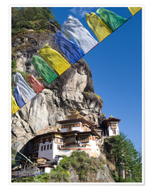 Póster  Taktshang Goemba (Tiger's Nest Monastery) and prayer flags, Paro Valley, Bhutan, Asia - Lee Frost