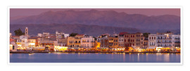 Póster  Harbor at dusk, Chania, Crete - John Miller